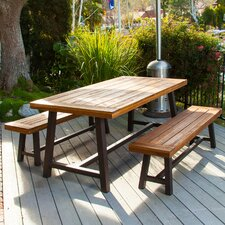 Marseille Rustic Metal 3 Piece Dining Set