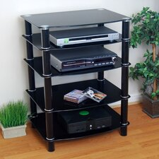 Everest Multilevel Component Stand in Black w/ Black Shelves