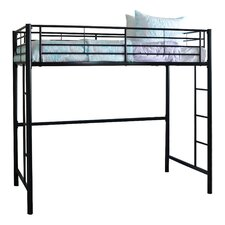 Metal Twin Loft Bed with Built-In Ladder