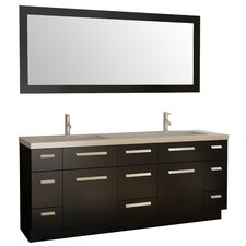 "72"" Double Bathroom Vanity Set with Mirror"