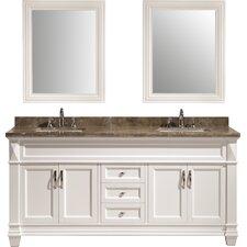 """72"""" Double Bathroom Vanity Set with Mirrors"""