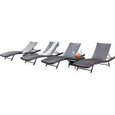 Kauai 6 Piece Wicker Chaise Lounger Set