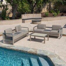 Corinth Aluminum Outdoor 3 Piece Deep Seating Group