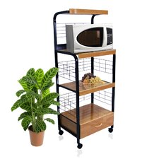 Microwave Cart with Wood Top I