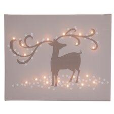 Leinwandbild Reindeer, Grafikdruck in Braun