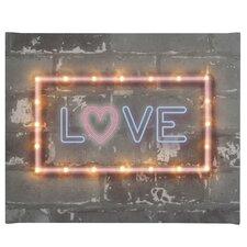 Leinwandbild Neon Love, Typografische Kunst