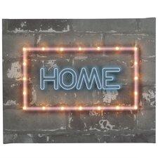 Leinwandbild Neon Home, Typografische Kunst