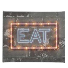Leinwandbild Neon Eat, Typografische Kunst