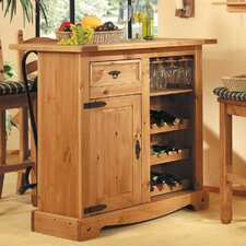 Mexican Bar Cabinet with Wine Rack