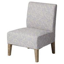 Violet Upholstered Floral Slipper Chair in Blue