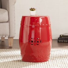 Estella Ceramic Indoor/Outdoor Accent Table in Valiant Poppy Red