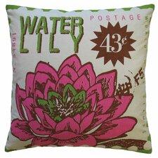 Postage Waterlily Print Cotton Throw Pillow