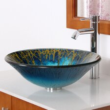 Enchantment Hand Painted Glass Bowl Vessel Bathroom Sink and Faucet