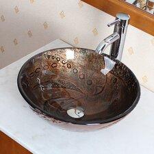 Hot Melted Rock Pattern Glass Bowl Vessel Bathroom Sink