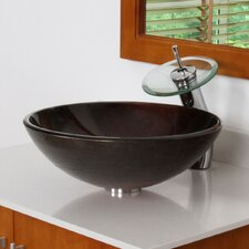 Neutral Handcrafted Glass Bowl Vessel Bathroom Sink