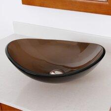 Tempered Glass Boat Shaped Oval Bottom Bowl Vessel Bathroom Sink