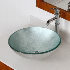 Hand Painted Foil Round Bowl Vessel Bathroom Sink