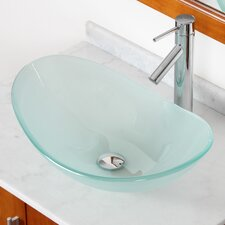 Double Layered Tempered Glass Boat Shaped Bowl Vessel Bathroom Sink