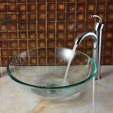 Tempered Glass Round Bowl Vessel Bathroom Sink