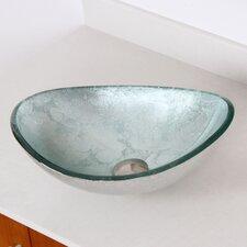 Hand Painted Foil Boat Shaped Oval Bowl Bottom Vessel Bathroom Sink