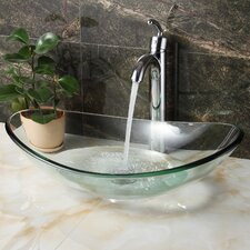 Tempered Glass Boat Shaped Bowl Vessel Bathroom Sink