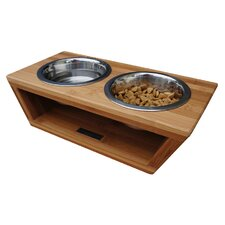 Bambu Angled Pet Diner Double Bowl Feeder
