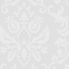 "Paintable 33' x 20"" Damask 3D Embossed Wallpaper"