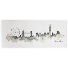 Summer 2015 London Watercolour Painting Print on Wrapped Canvas
