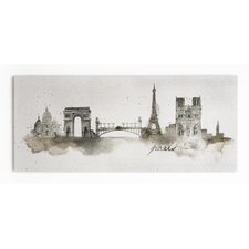 Summer 2015 Paris Watercolour Painting Print on Wrapped Canvas