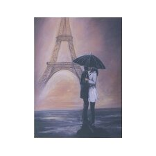 Kissing In Paris Painting Print on Canvas