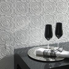 "Paintable 33' x 20.5"" Damask Embossed Wallpaper"