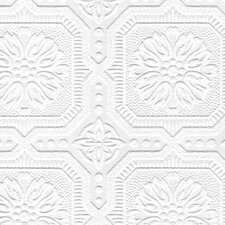 "Paintable 33' x 20.5"" Damask 3D Embossed Wallpaper"