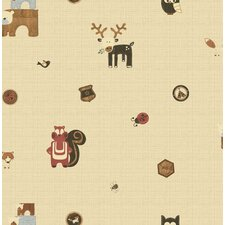 """Forager Woodland Critters 33' x 20"""" Wildlife Wallpaper"""