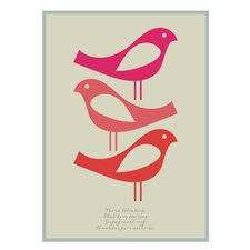 Poster Three Little Birds, Grafikdruck in Rosa