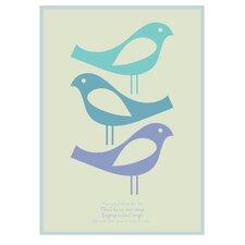 Poster Three Little Birds, Grafikdruck in Blau