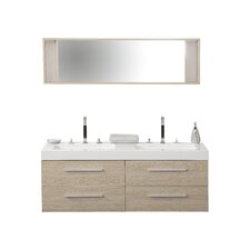 140cm Wandmontierter Waschtisch für Doppelbecken mit Spiegel und Schränke