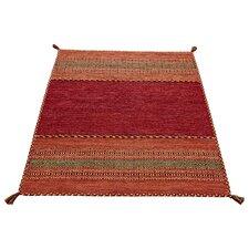 Handgewebter Teppich Kelim in Rot