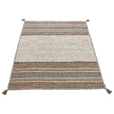 Handgewebter Teppich Kelim in Beige