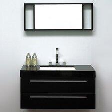 3-tlg. 100cm wandmontiert Waschtisch Barcelona mit Spiegel und Armatur