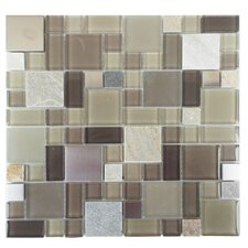 Parker Random Sized Glass, Stone and Metal Mosaic Tile in Tan and Brown