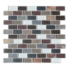 Cheyenne 1'' x 2'' Natural Stone and Glass Mosaic Tile in Multi-colored