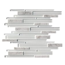 Marbella Random Sized Natural Stone and Glass Mosaic Tile in White