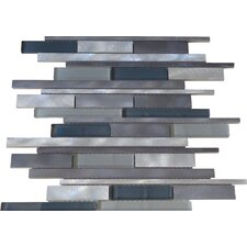 Urban Random Sized Aluminum and Glass Metal Look Tile in Multi-colored