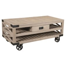 Wheel Coffee Table with Tray Top