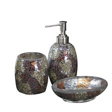 3 Piece Sparkle Mosaic Bathroom Set