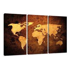3-tlg. Leinwandbilder-Set Worldmap, Grafikdruck