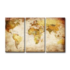 Worldmap 3 Piece Graphic Art Wrapped on Canvas Set in Antique