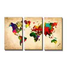3-tlg. Leinwandbilder-Set Worldmap, Grafikdruck