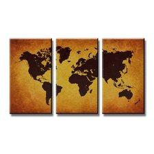 3-tlg. Leinwandbild-Set Worldmap Grafikdruck