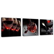 3-tlg. Leinwandbild-Set Wine Kitchen Glasses Grafikdruck